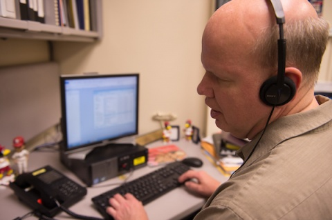 Mike Hoenig, a program coordinator in the Center for Disabilities and Development at UI Stead Family Children's Hospital, uses a screen-reading program on the computer.