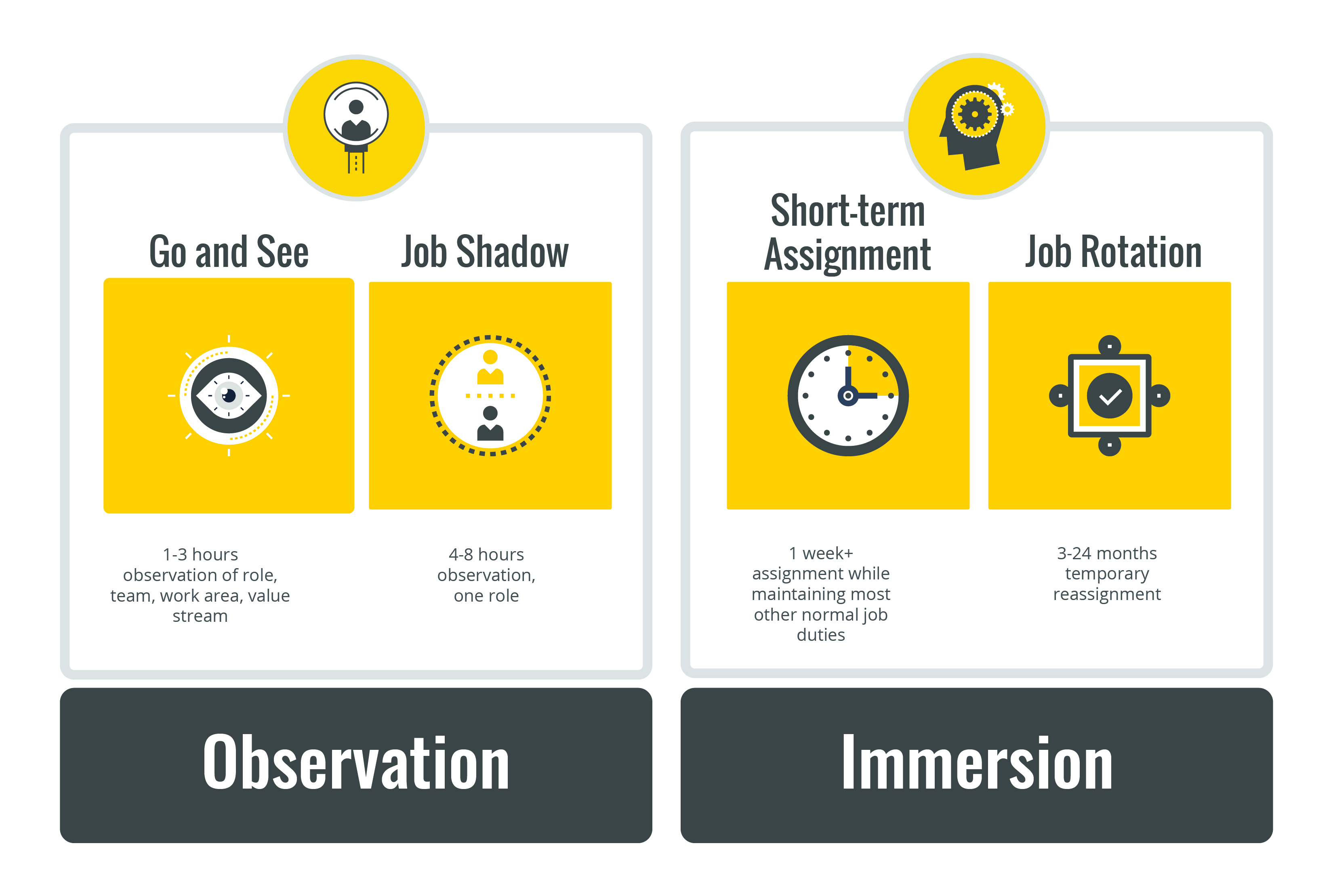 Observation: Go and See or Job Shadow; Immersion: Short-term Assignment or Job Rotation